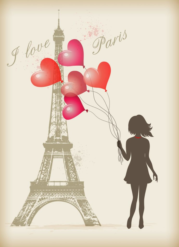 Girl with red balloons in Paris near the Eiffel Tower